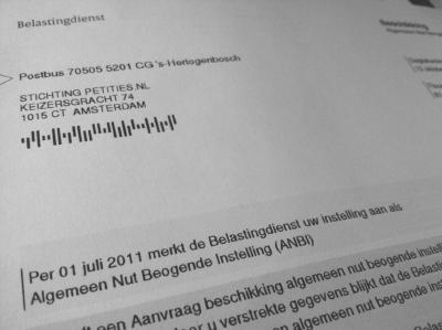 foto van brief van Belastingdienst