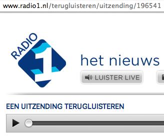 screenshot van Radio-1 terugluisteren De Avondspits