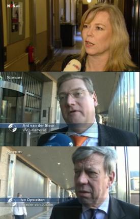 screenshots Toorenburg, van der Steur en Opstelten uit NOS Nieuws en Zie.nl videofragmenten