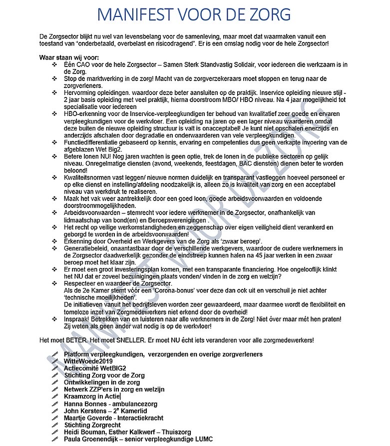 Manifest voor de zorg