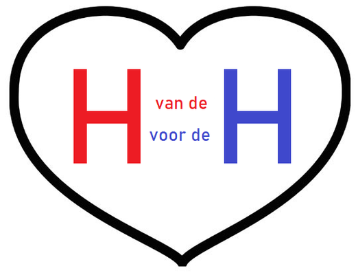 """Afbeelding van een Hart met daarin de H van Hart en de H van Horeca, Tussen deze 2 H's staan de teksten """"Van de"""" en """"Voor de"""",  wat slaat op Hart van de Horeca en Hart voor de Horeca"""