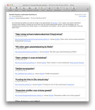 voorbeeld e-mail van de Petities Nieuws-nieuwsbrief
