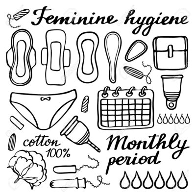 51328514 feminine hygiene set hand drawn cartoon collection of monthly  stock photo